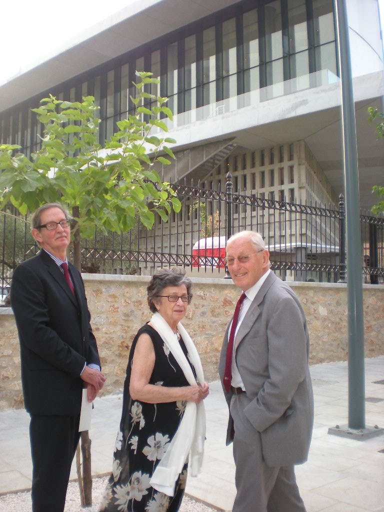 Professor Anthony Snodgrass, Eleni Cubitt and Chris Price of the British Committee arriving at the New Acropolis Museum in June 2009